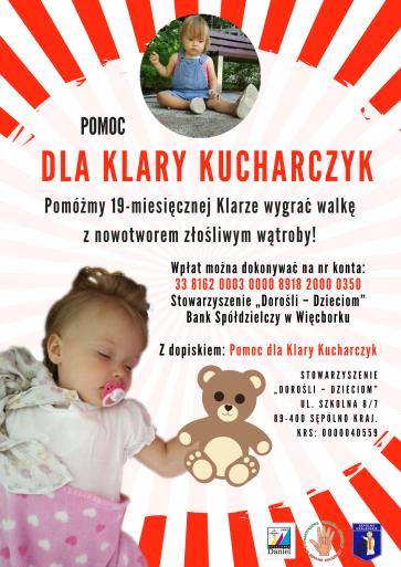"""Klara – 19-miesięczny, radosny maluszek zamiast odkrywać świat wraz z rówieśnikami w naszym żłobku, toczy walkę o życie. Miesiąc temu zdiagnozowano u niej nowotwór złośliwy wątroby – hepatoblastomę. Obecnie przebywa w warszawskim Instytucie """"Pomnik – Centrum Zdrowia Dziecka"""", gdzie poddawana jest kosztownemu leczeniu chemioterapią."""